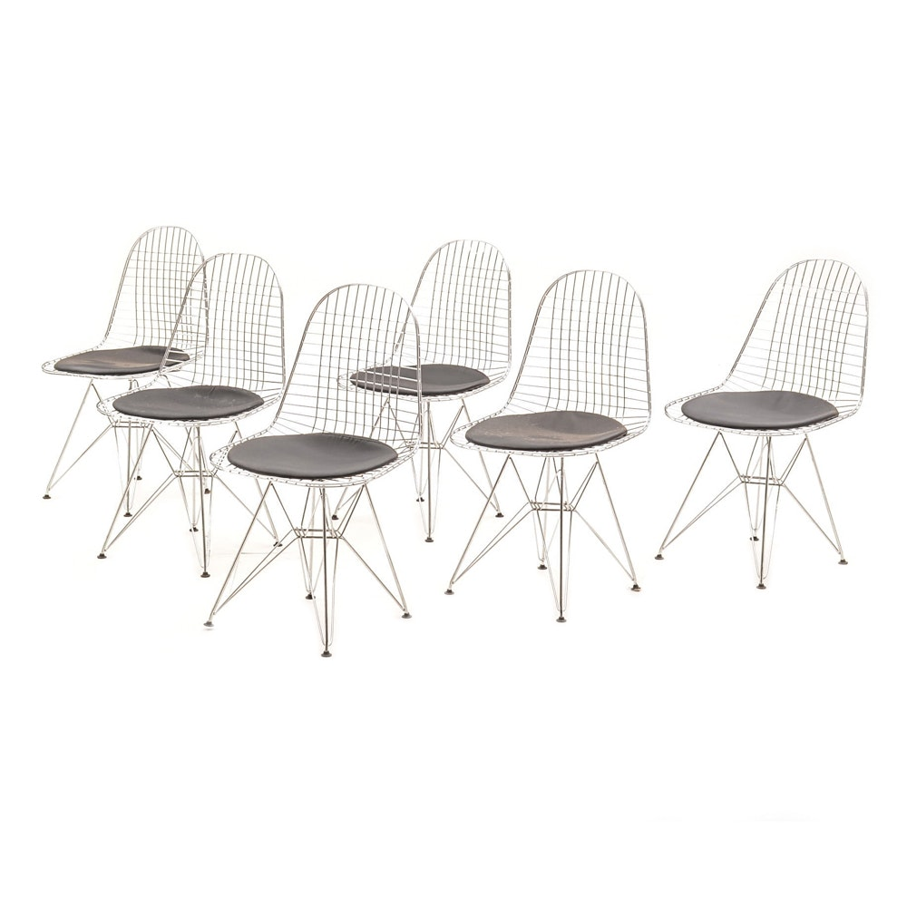 Six Bertoia Style Dining Chairs