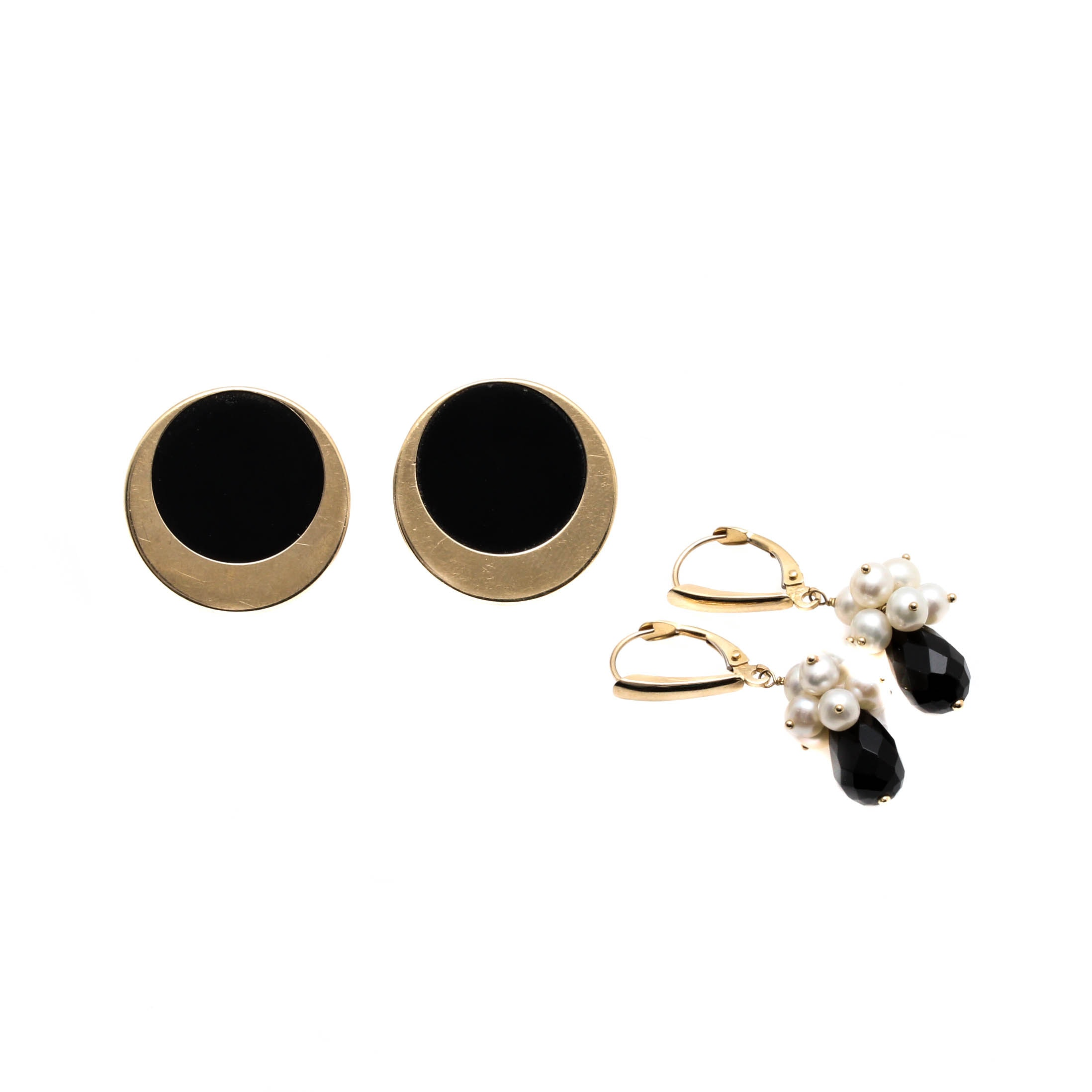 14K Yellow Gold Earrings Including Black Onyx and Cultured Pearls