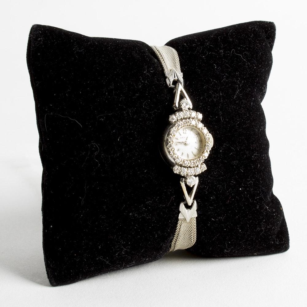 14K White Gold Hamilton Watch