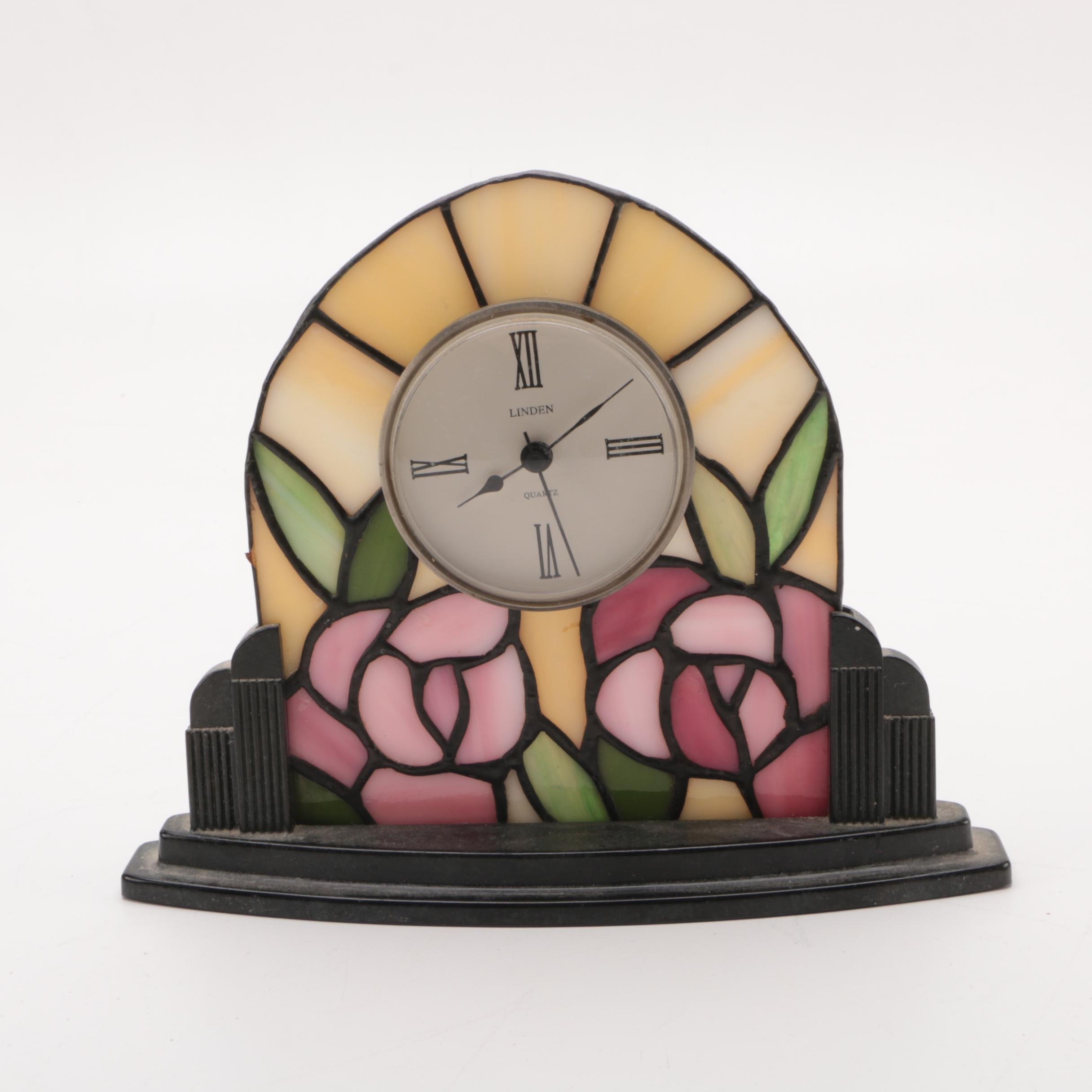 Linden Stained Glass Accented Desk Clock