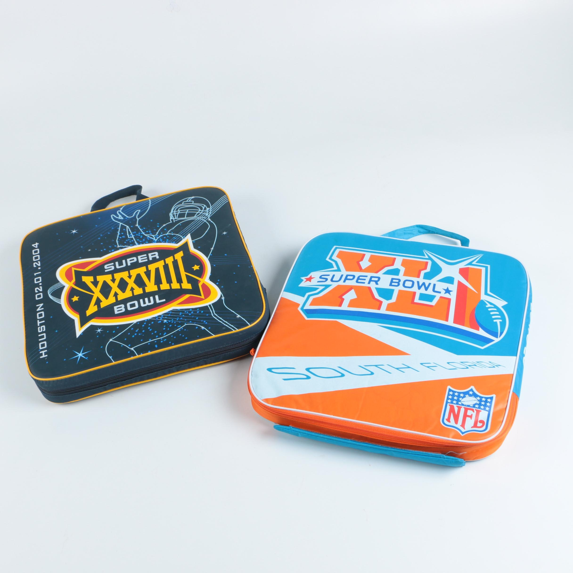 Collection of Commemorative Super Bowl Seat Cushions and Necklace