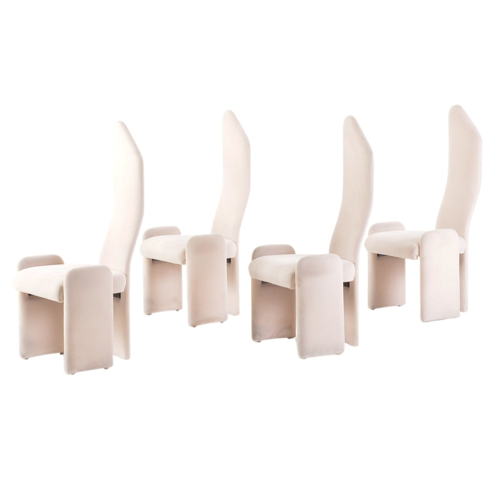 Set of Four Vintage Modern High Back Dining Chairs