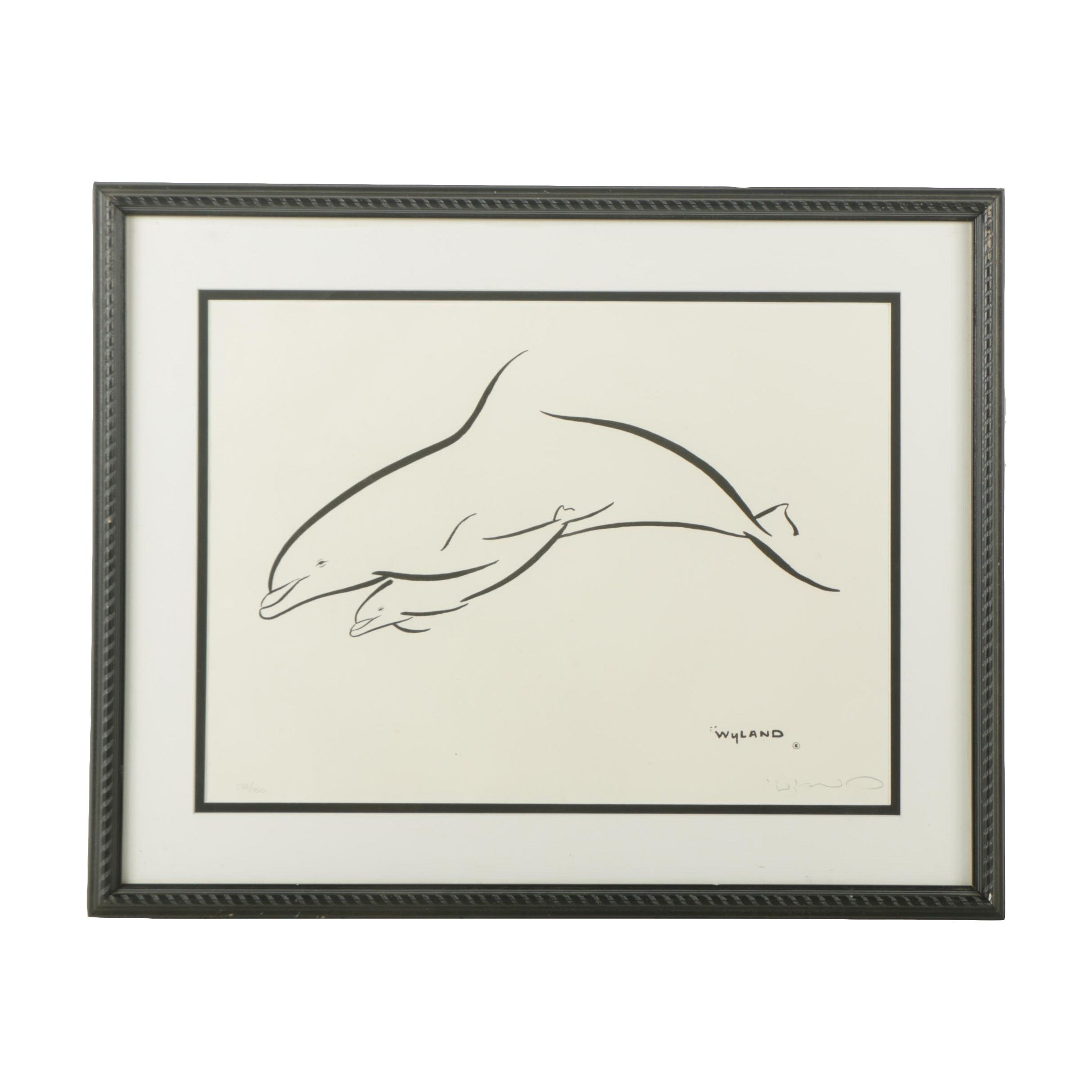 Robert Wyland Limited Edition Serigraph of Dolphin with Calf