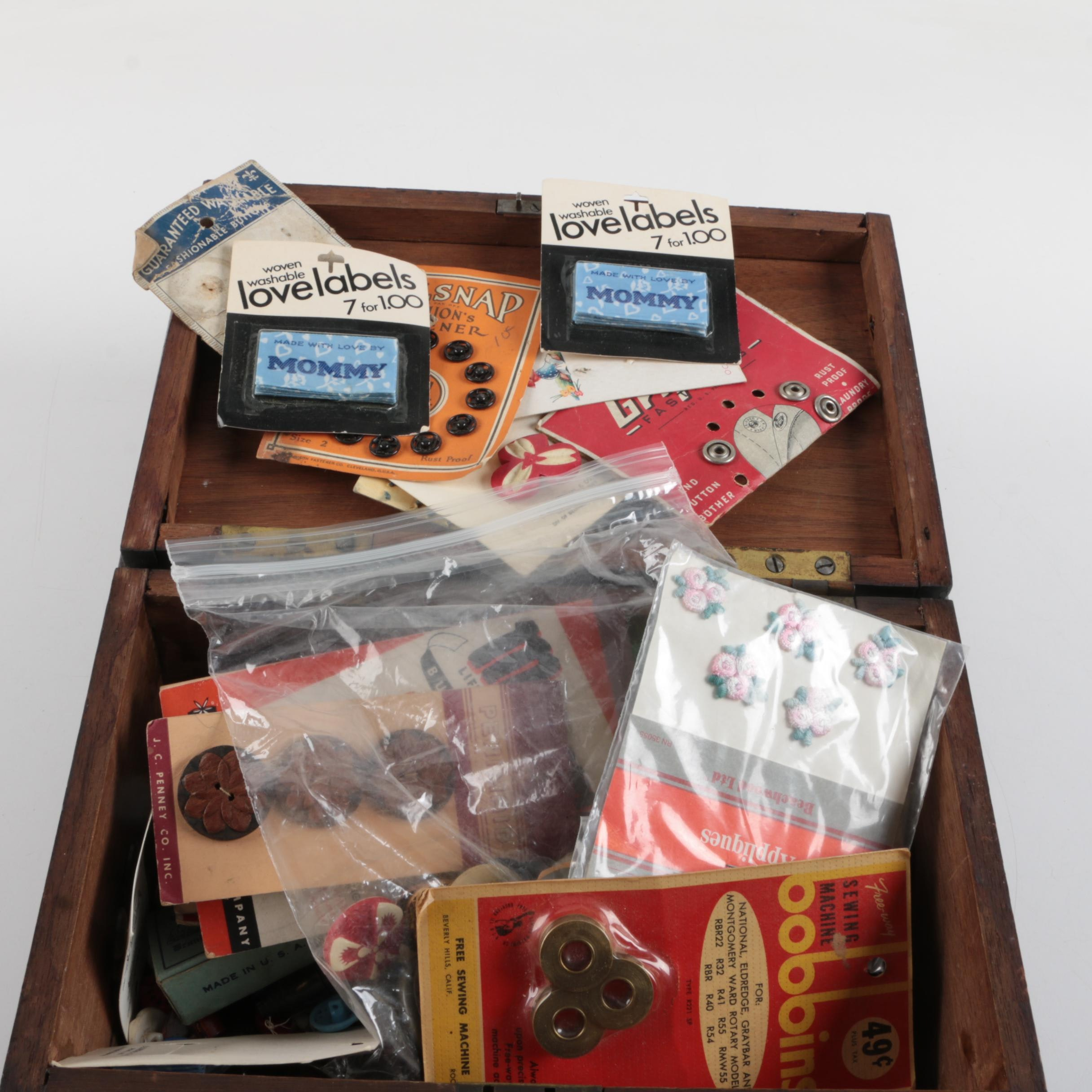 Sewing Supplies in Wood Storage Box ... & Sewing Supplies in Wood Storage Box : EBTH