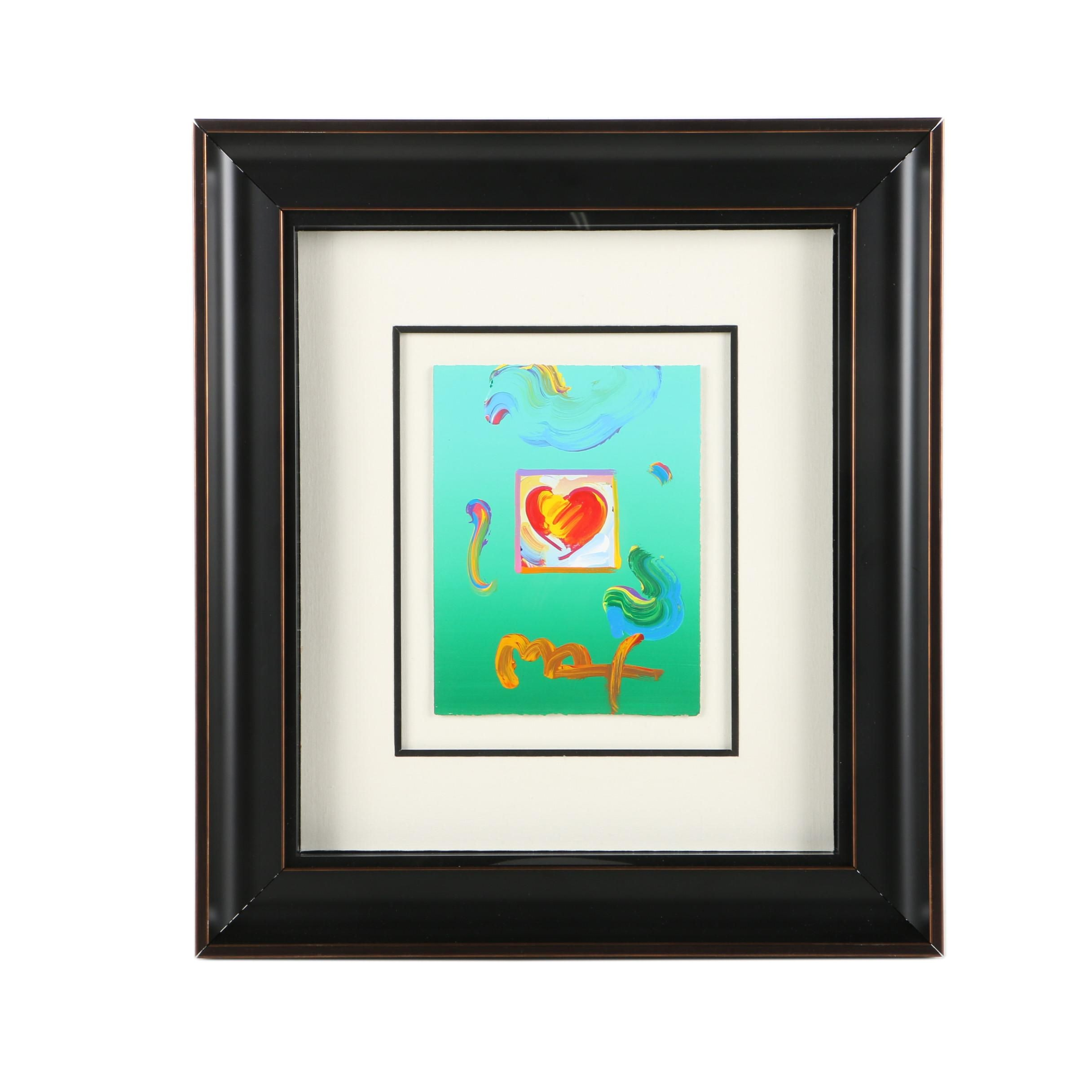 "Peter Max Mixed Media Painting on Paper ""Heart Series 2010 Ver I"""