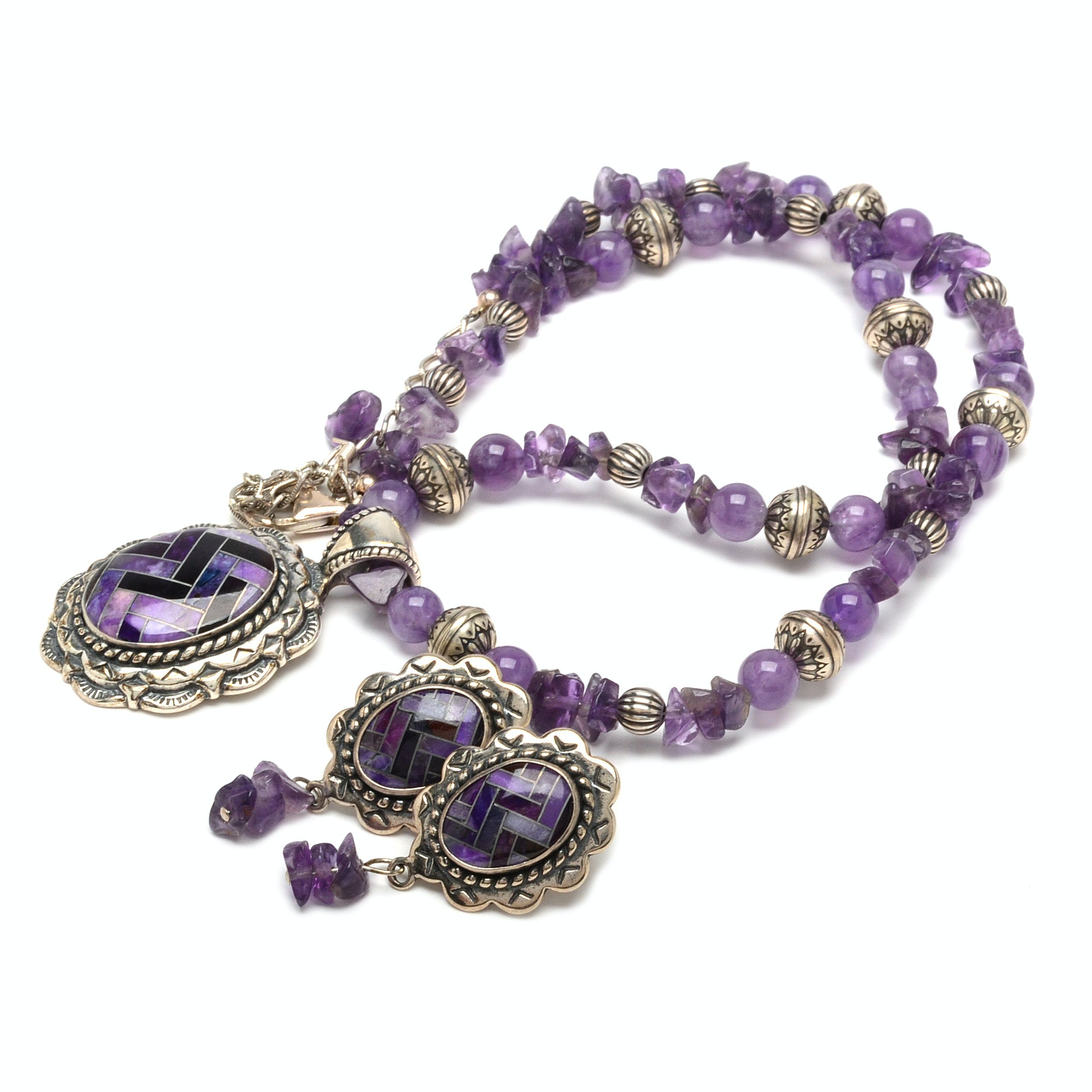 Carolyn Pollack for Relios Amethyst and Sugilite Earring and Necklace Set