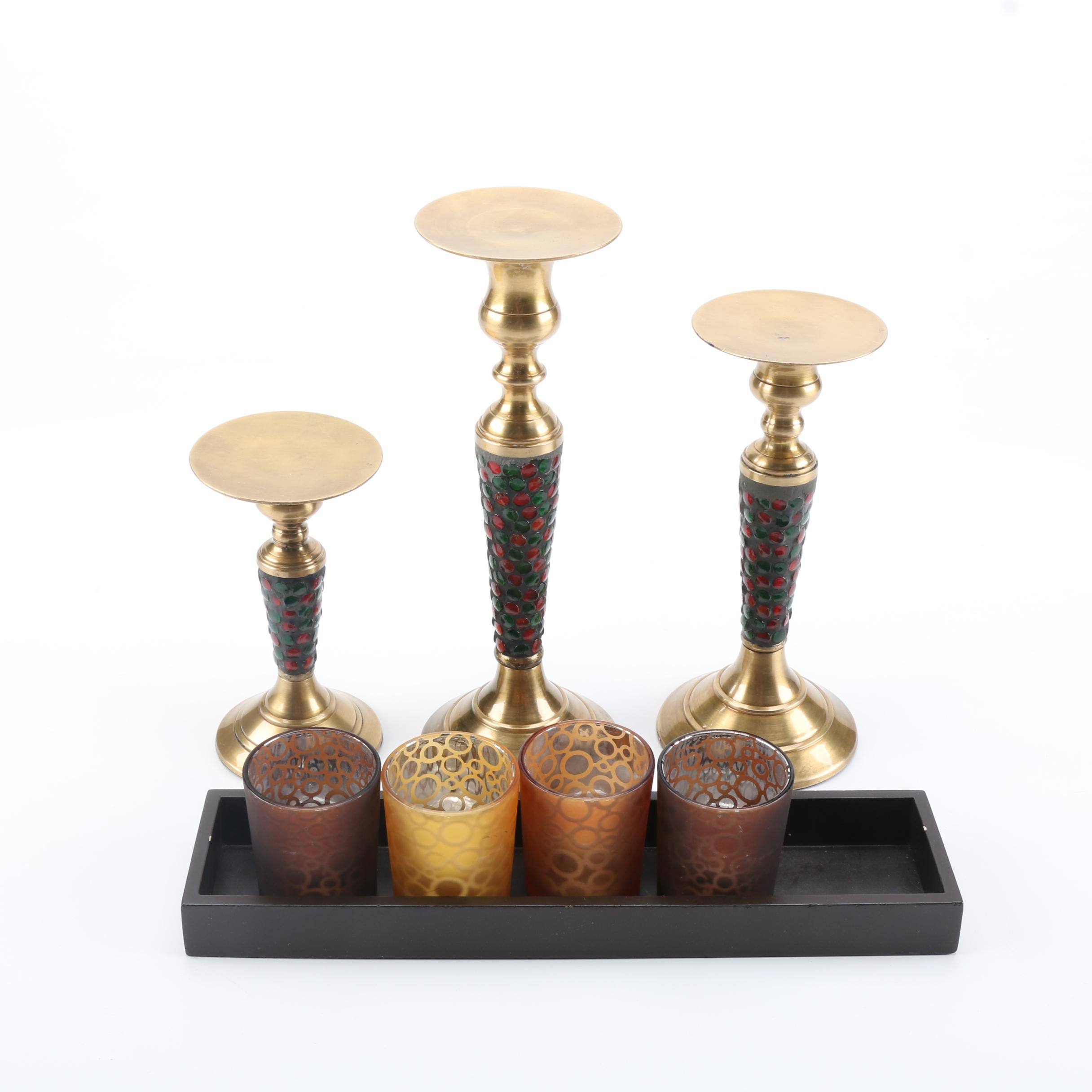 Brass and Glass Candle Holders