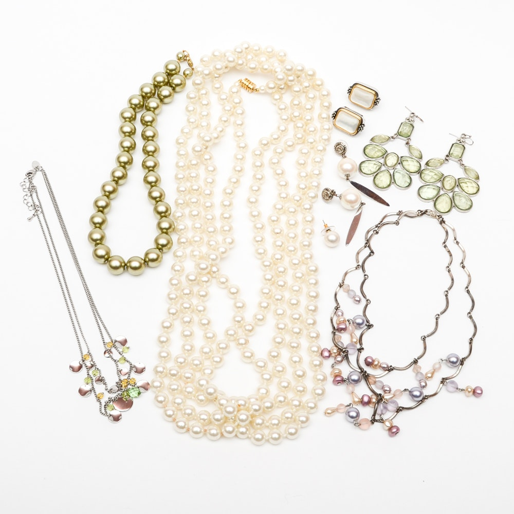 Costume Jewelry Collection With Gemstones