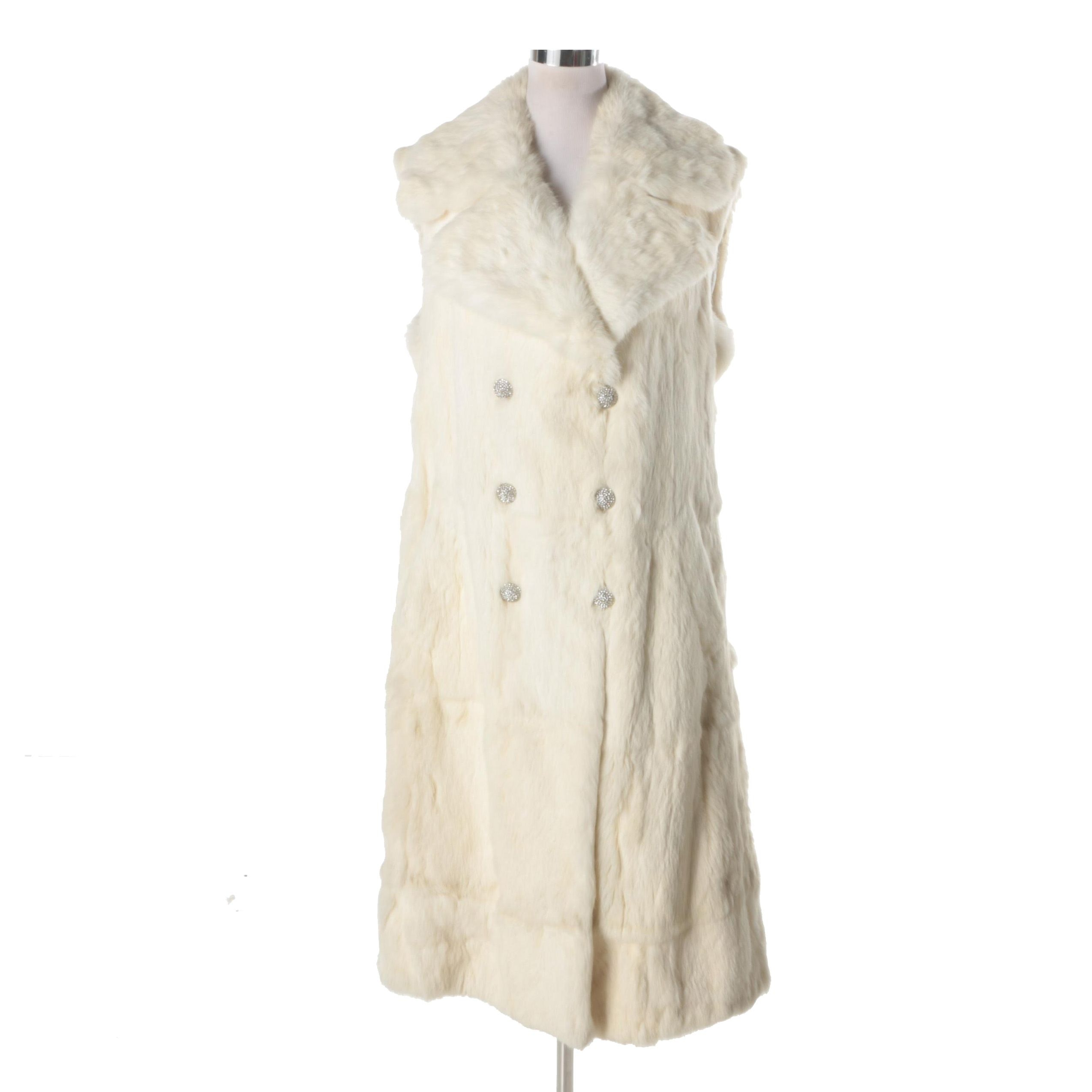 Women's Double-Breasted White Rabbit Fur Vest