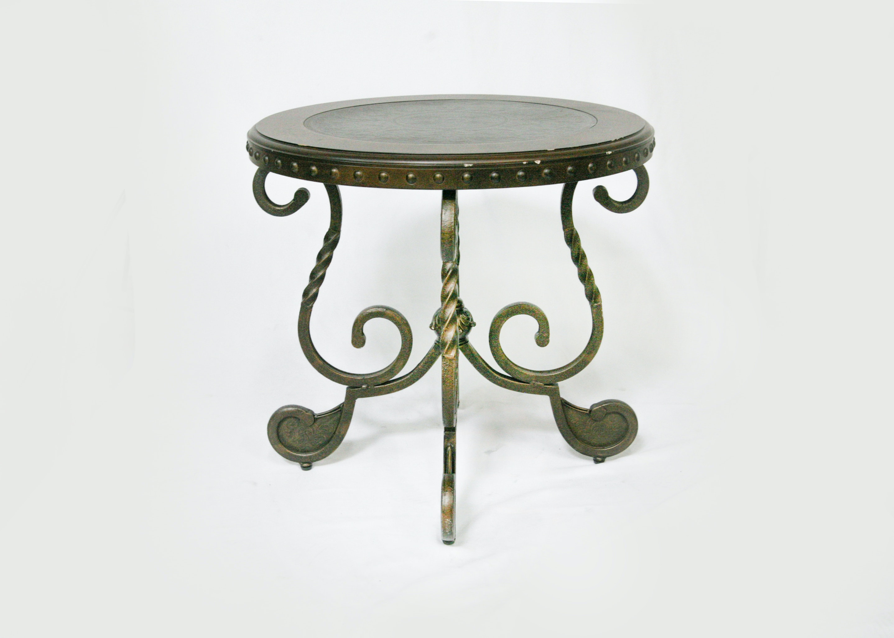 Embossed Topped Table on a Wrought Iron Base
