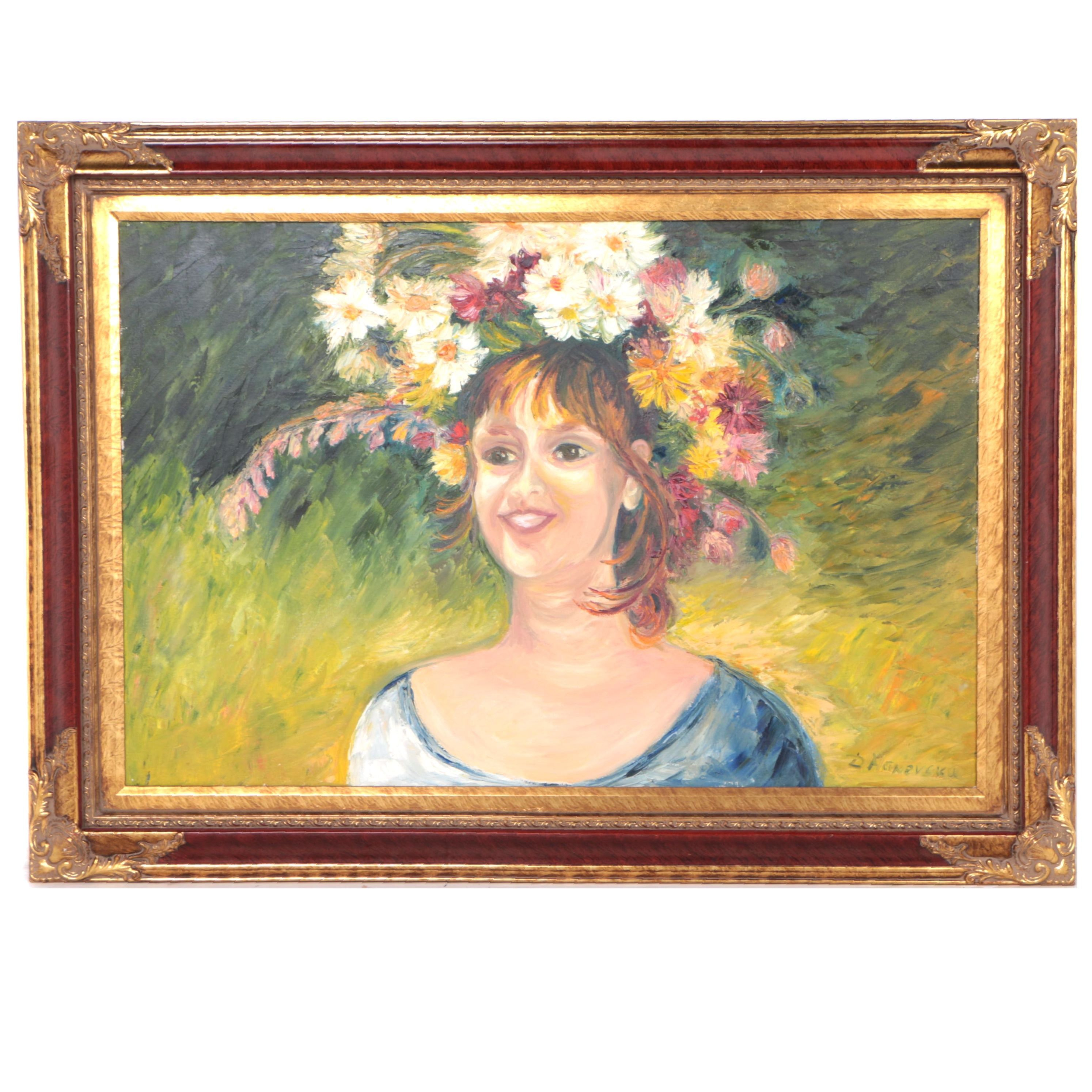 Oil Painting on Canvas of Woman with Floral Crown