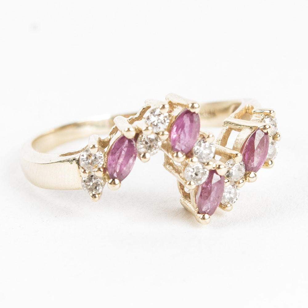 14K Yellow Gold Ruby and Diamond Wave Ring