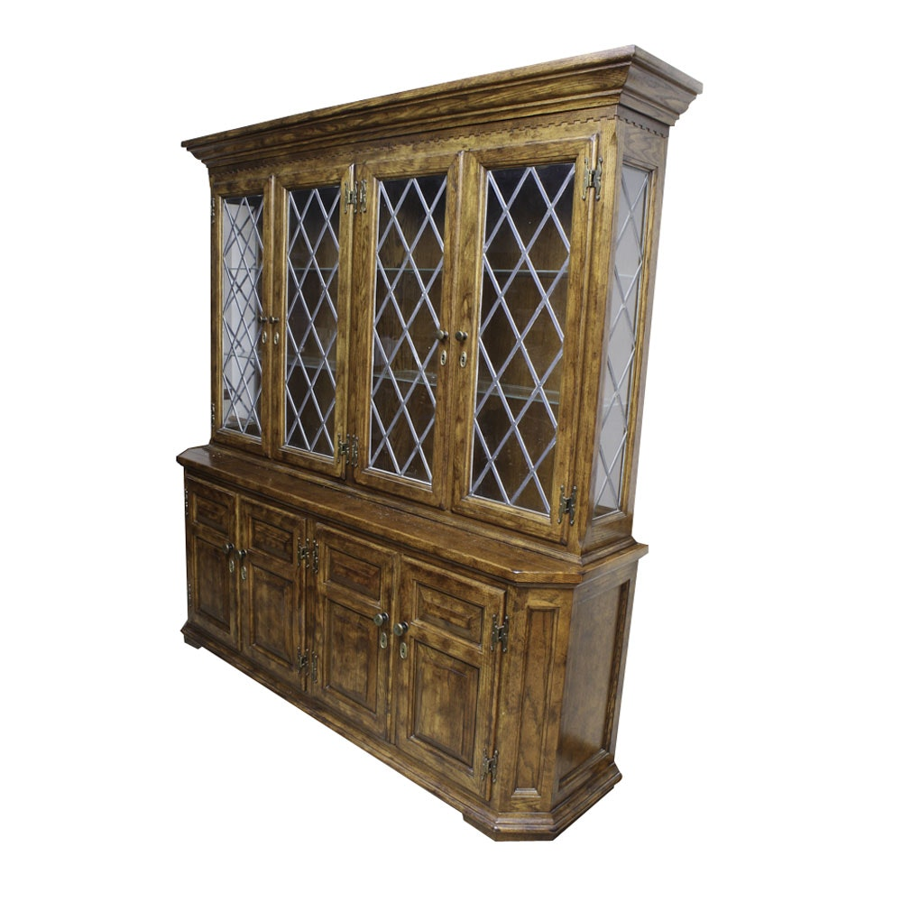 Century Oak And Leaded Glass China Cabinet ...