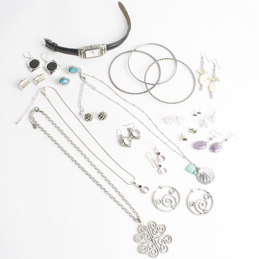 Assortment of Silver Tone Jewelry