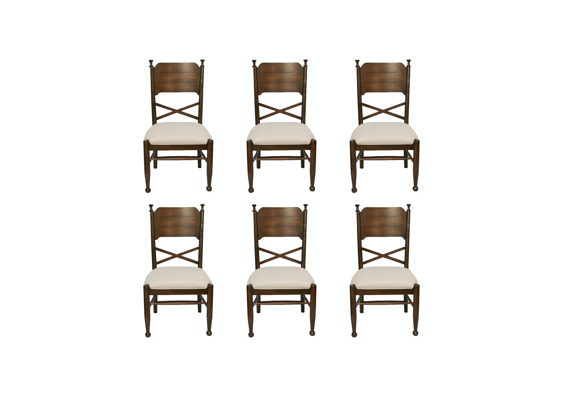 Set of Six Federal Style Walnut Dining Chairs from Coaster Fine Furniture