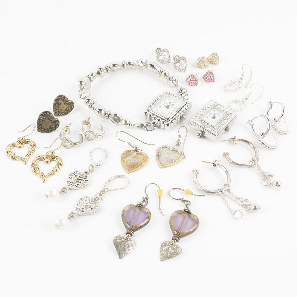 Assortment of Earrings and Watches