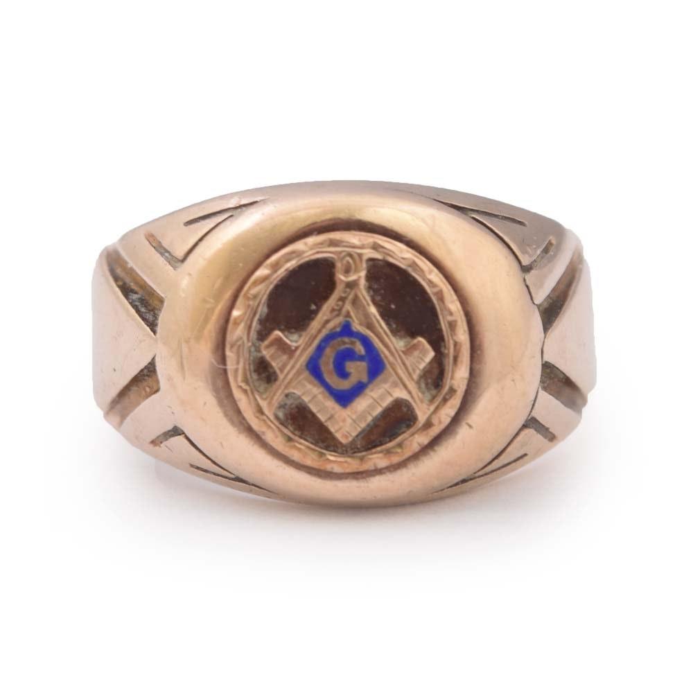 10K Yellow Gold Freemason Ring