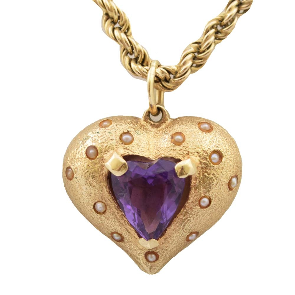 14K Yellow Gold Amethyst and Seed Pearl Heart Pendant on an 8K Yellow Gold Chain