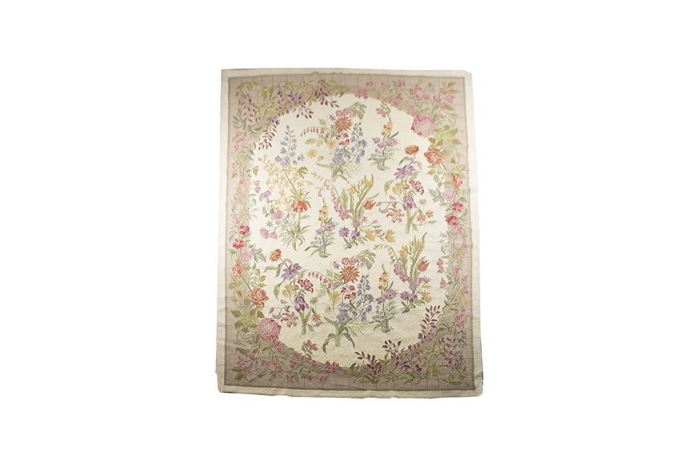 Hand Hooked Floral Wool Area Rug