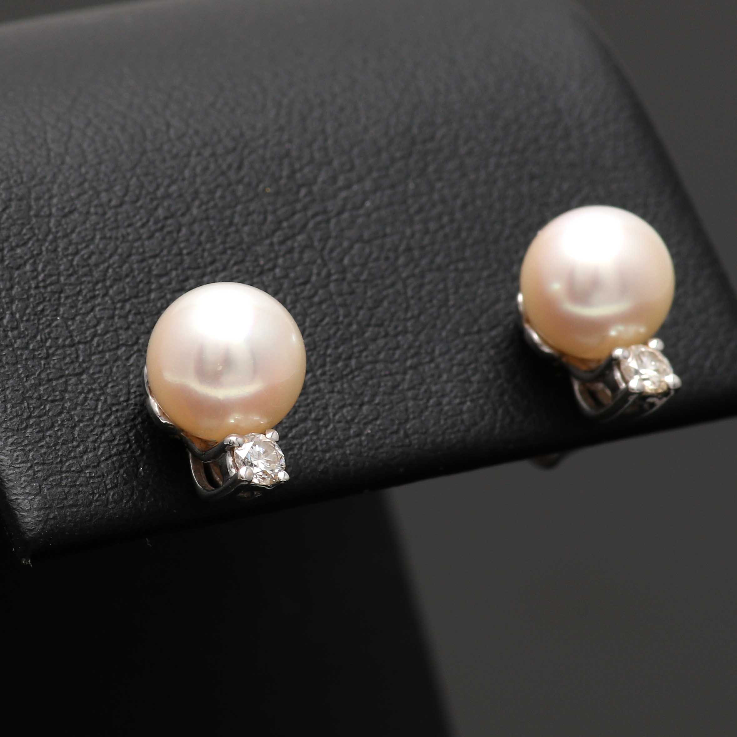 Tiffany & Co. 18K and 14K White Gold Cultured Pearl and Diamond Stud Earrings