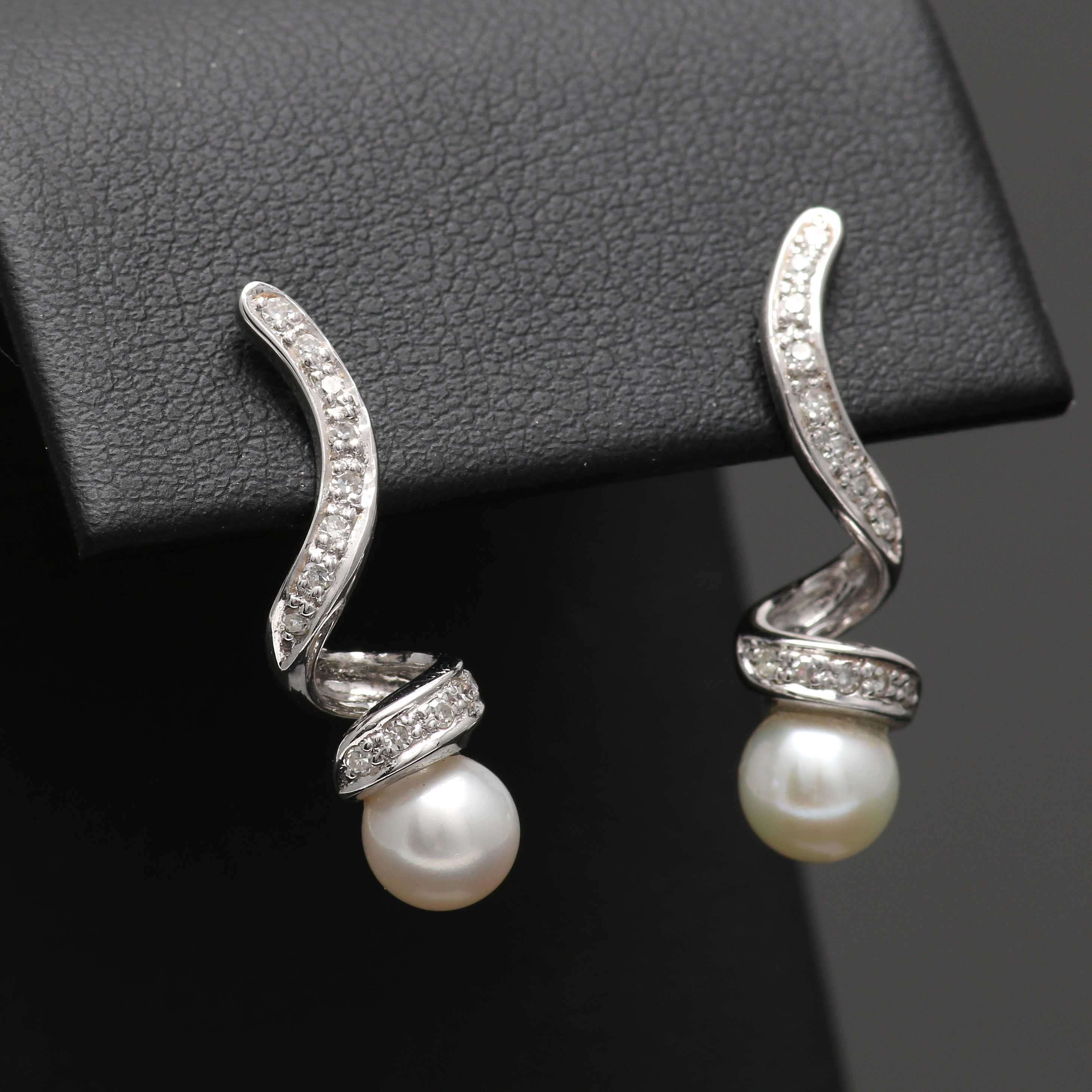 14K White Gold Cultured Pearl and Diamond Drop Earrings
