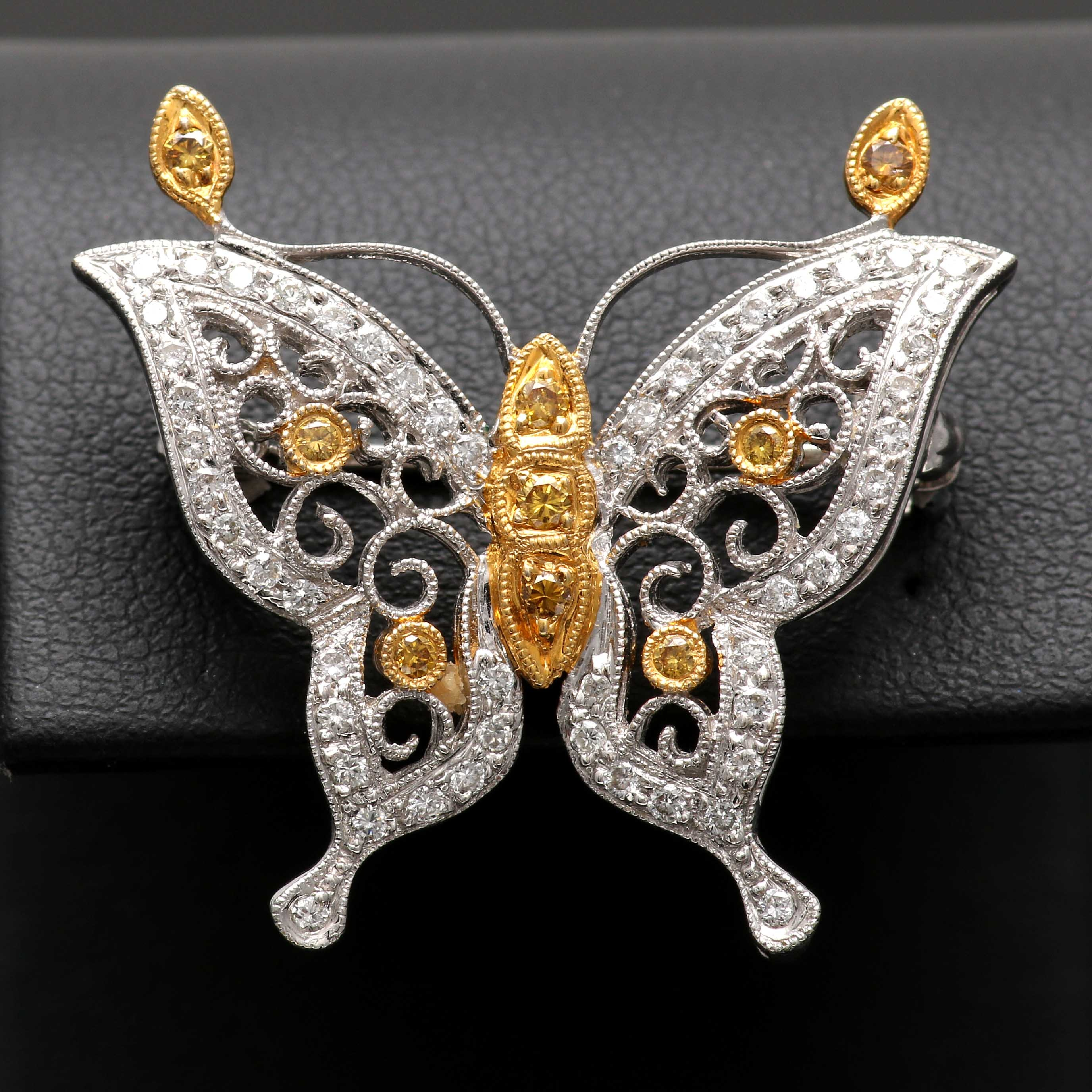 18K White and Yellow Gold Diamond Butterfly Pendant Brooch