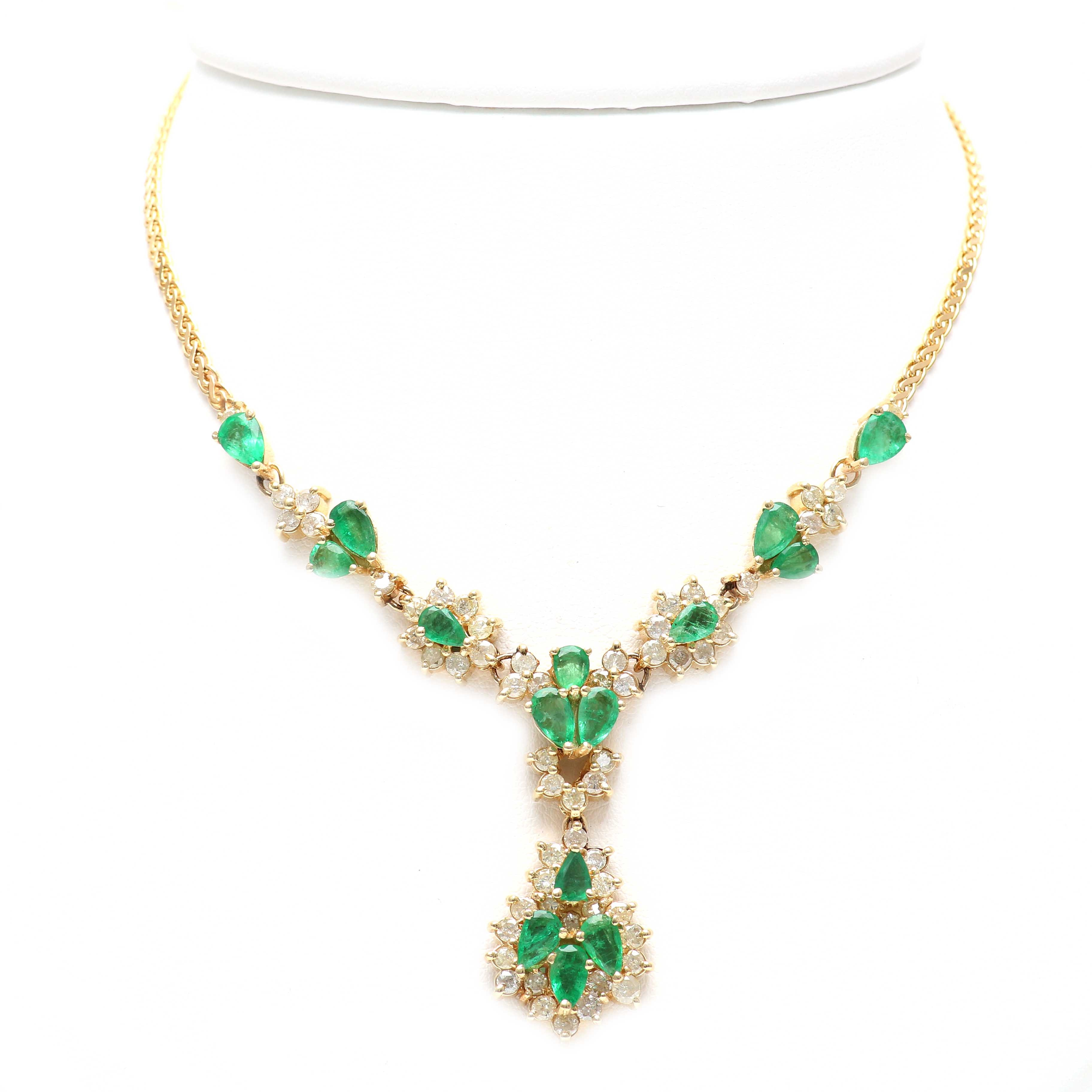 14K Yellow Gold Emerald and 3.03 CTW Diamond Necklace