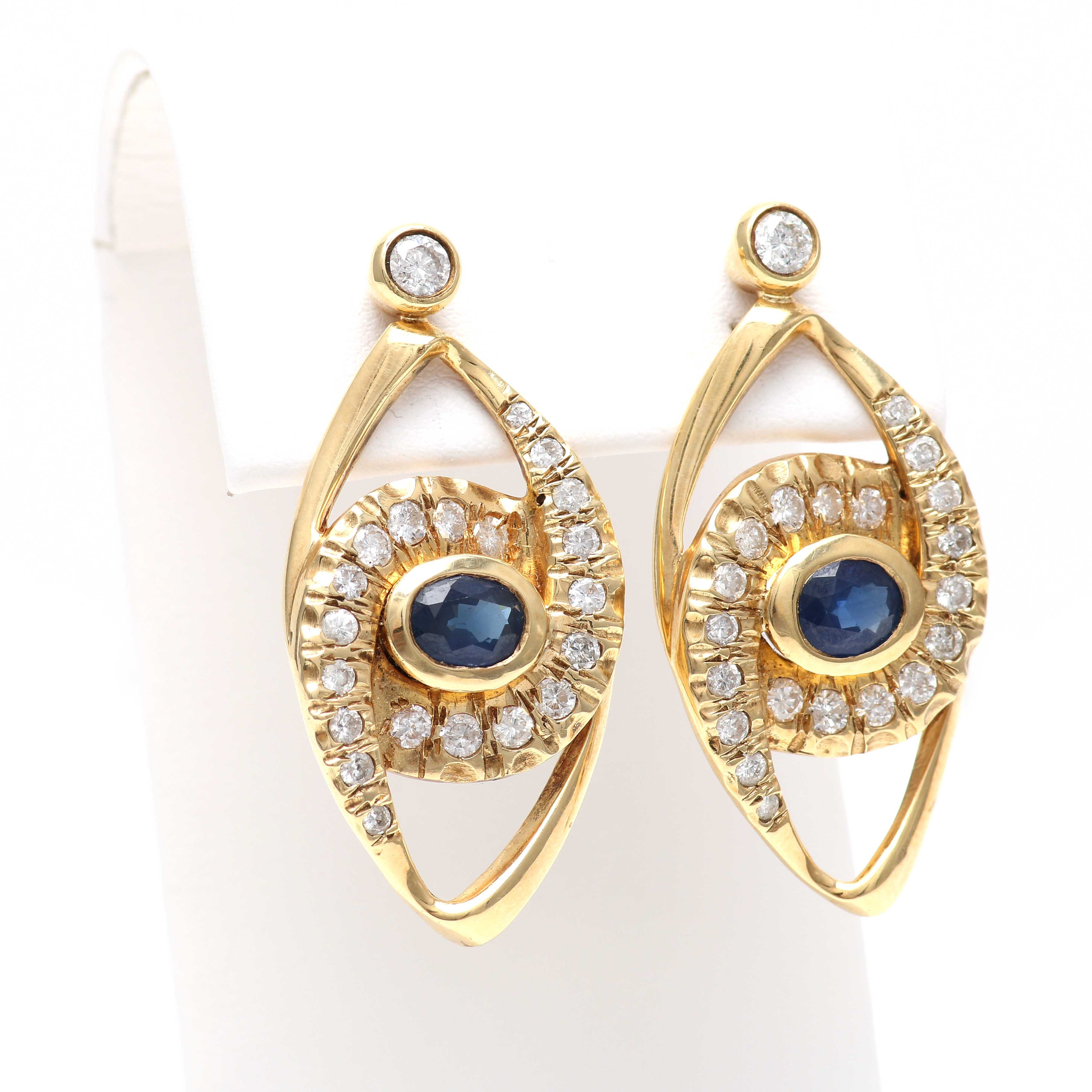 14K Yellow Gold 1.58 CTW Sapphire and 1.96 CTW Diamond Earrings