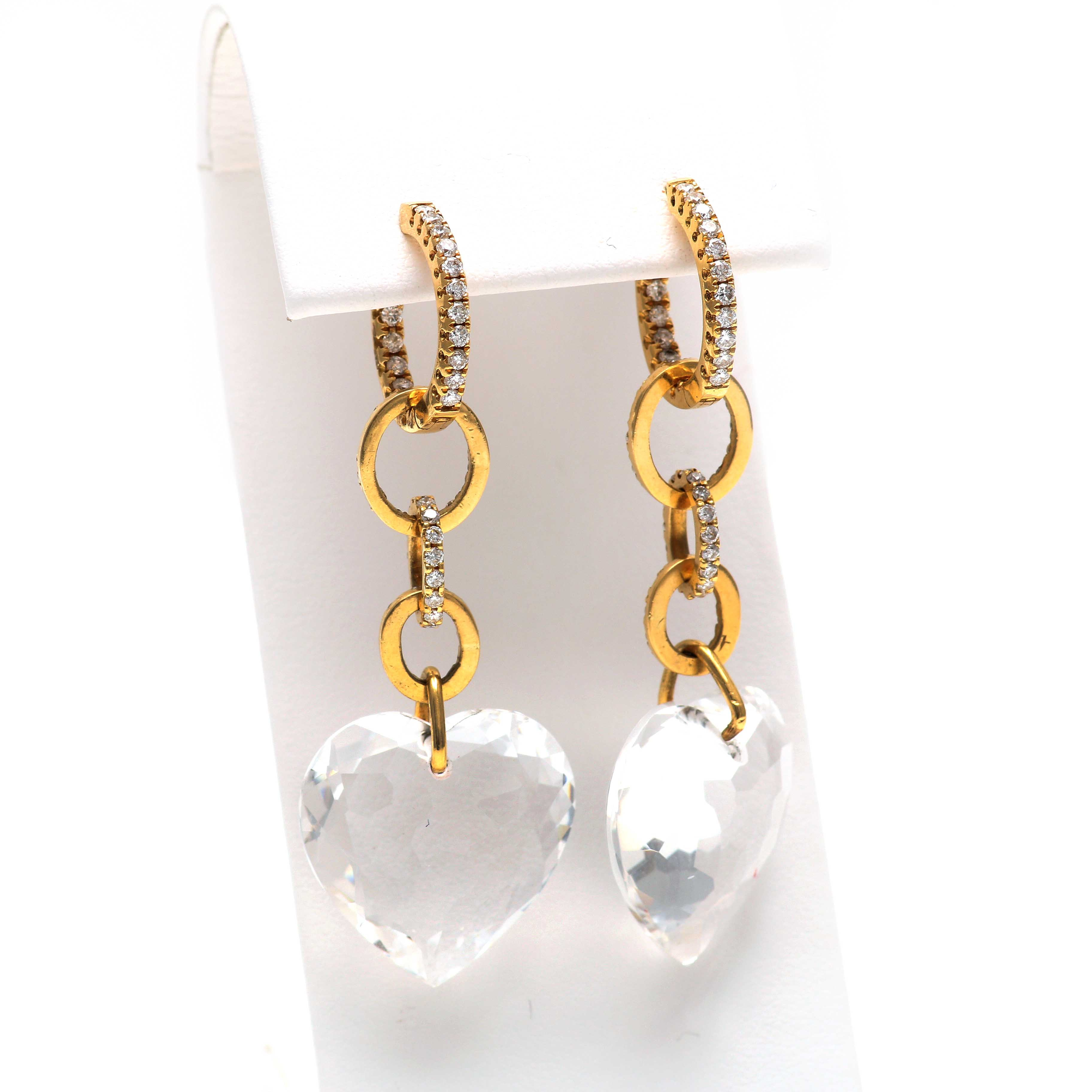 18K Yellow Gold 1.10 CTW Diamond and Clear Quartz Heart Dangle Earrings