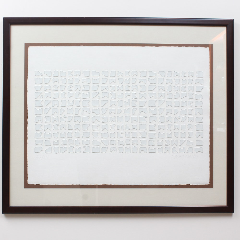 Minimalist Paul Maxwell Signed Cast Paper Artwork