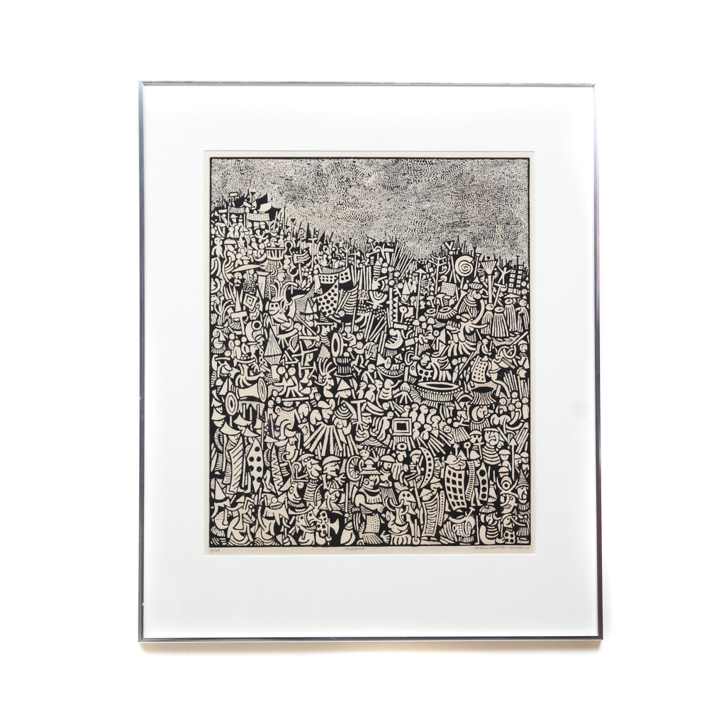 "Sergio Gonzalez-Tornero Limited Edition Etching ""Migration"""