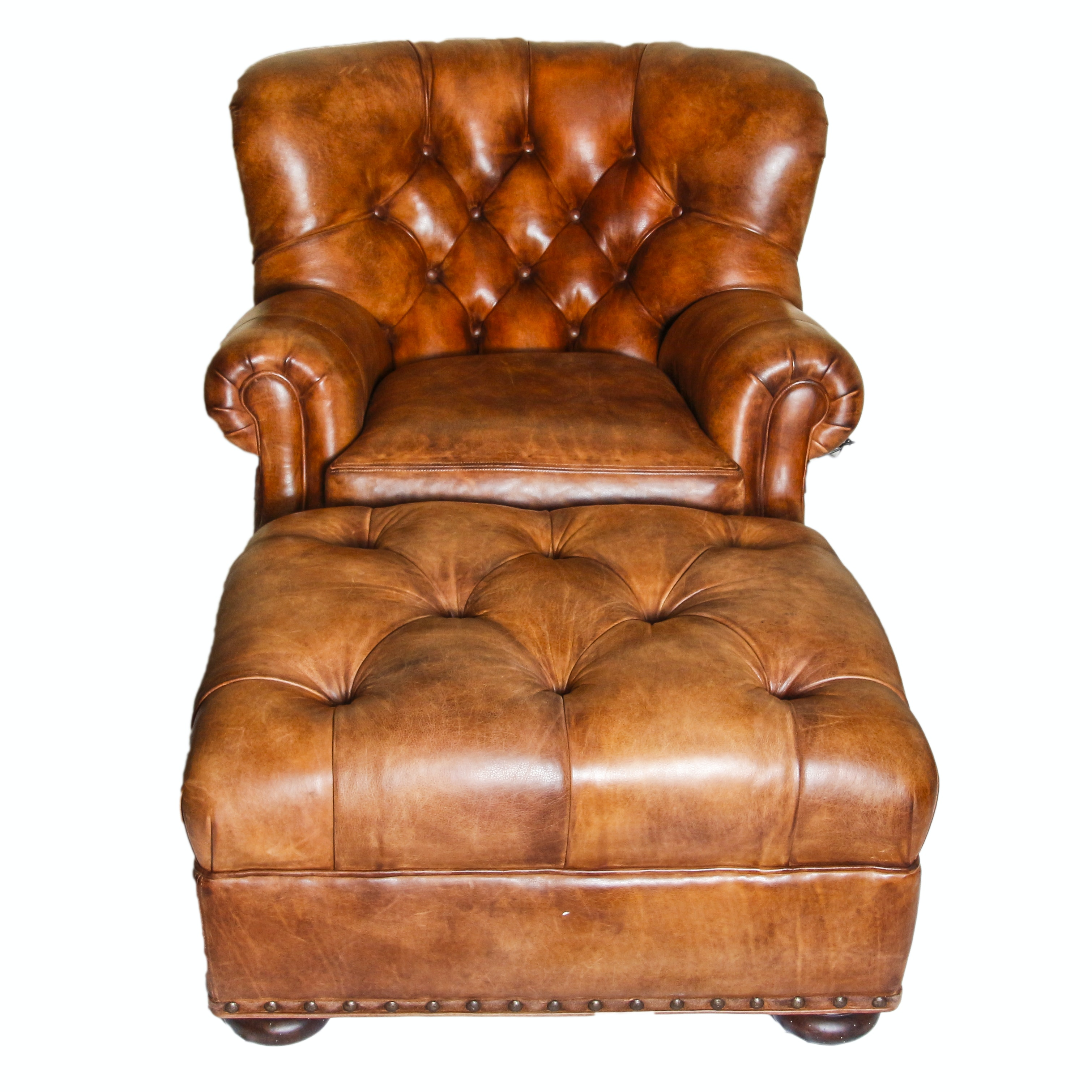Vintage Leather Armchair and Ottoman by Hancock & Moore