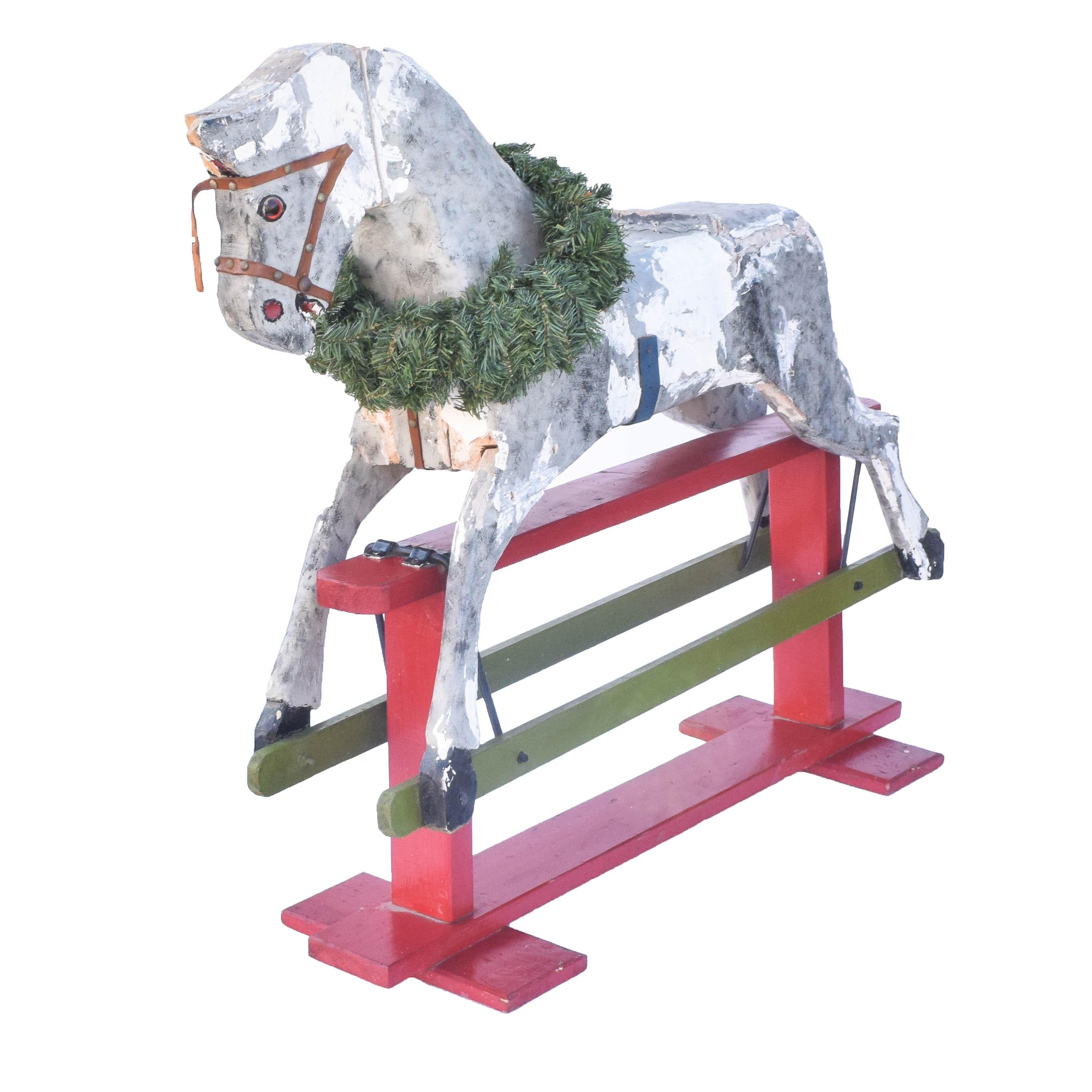 Vintage Wooden Rocking Horse Display