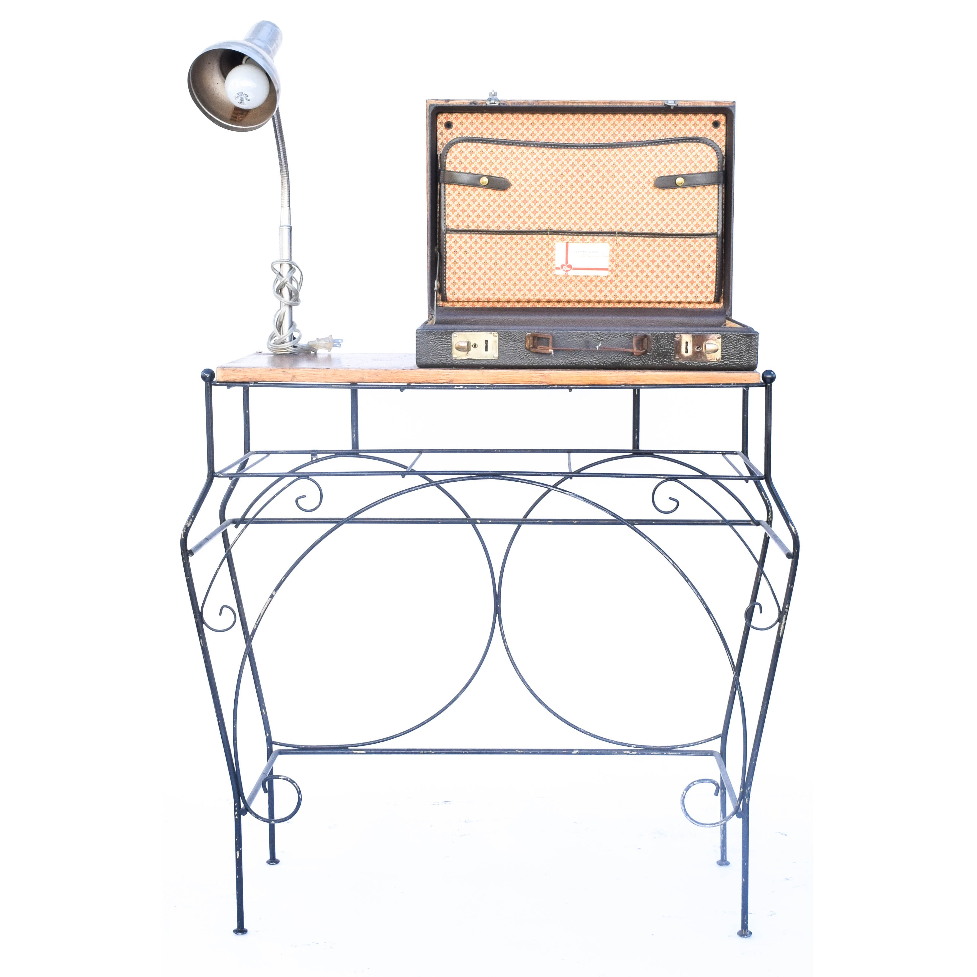 Eclectic Desk with Built-In Lamp