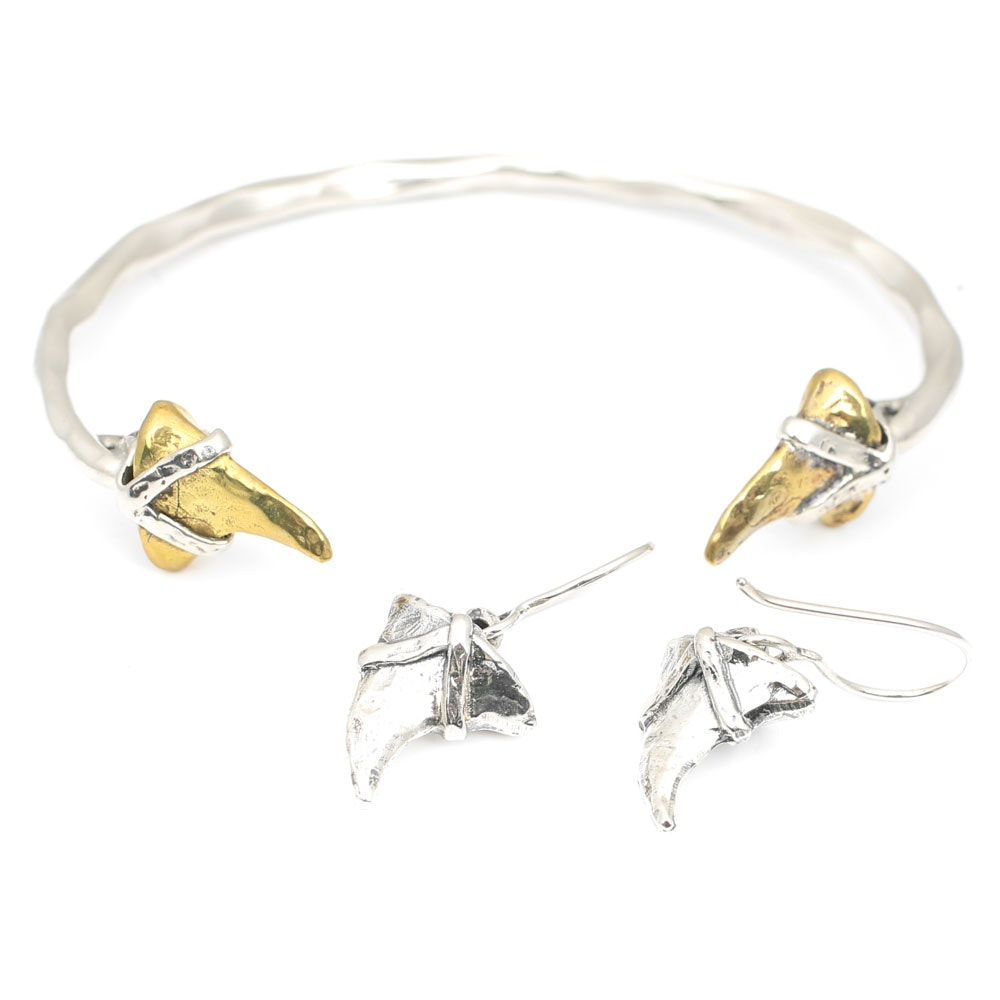 Waxing Poetic Sterling Silver Shark Tooth Cuff Bracelet and Earring Set