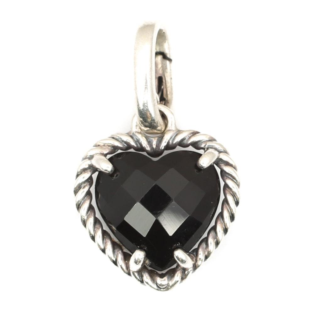 David Yurman Sterling Silver Black Onyx Heart Pendant