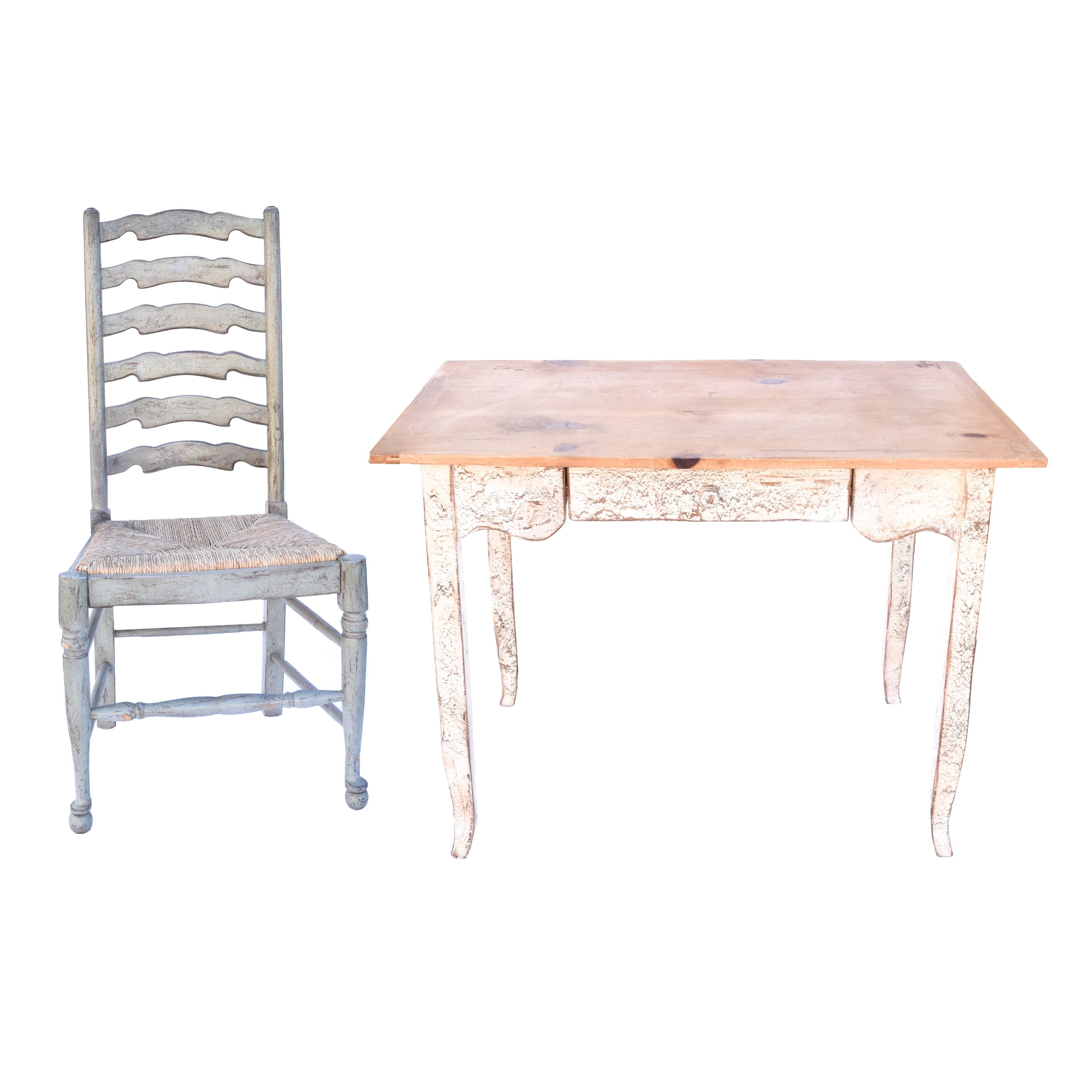 Farmhouse Style Desk and Ladderback Chair