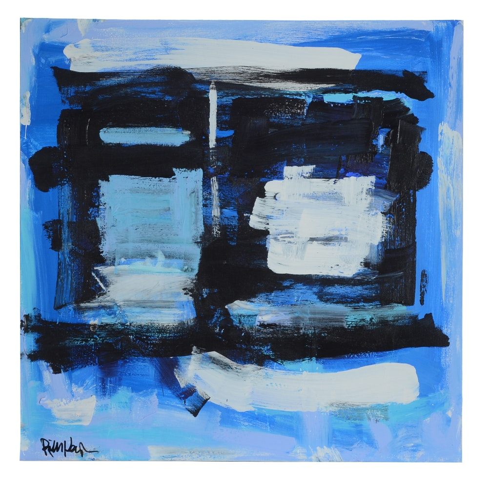 "Robbie Kemper Abstract Acrylic Painting ""Blue, Black, White Squares"""