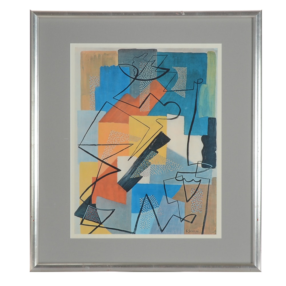 Gino Severini Lithograph Print of an Abstract Composition