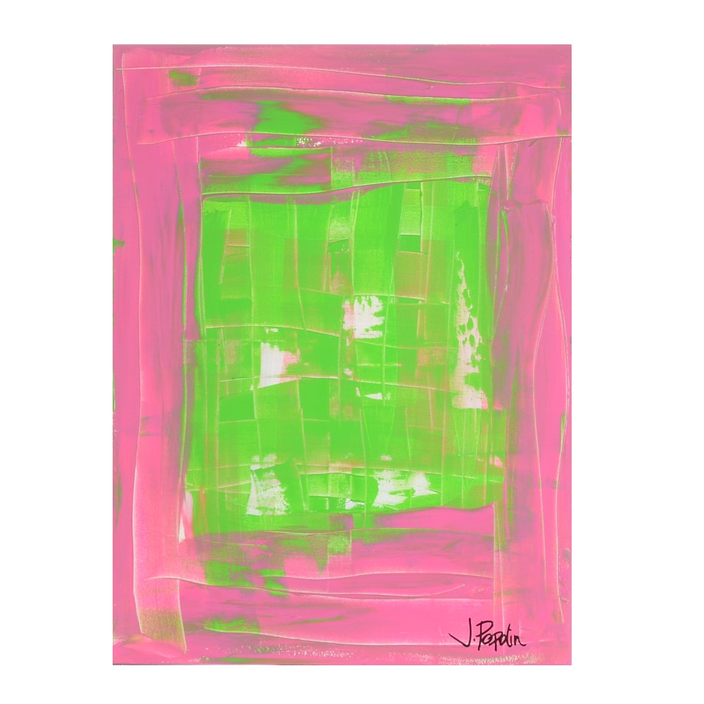 "J. Popolin Original Acrylic Painting on Canvas ""Variation on Mod Christmas"""