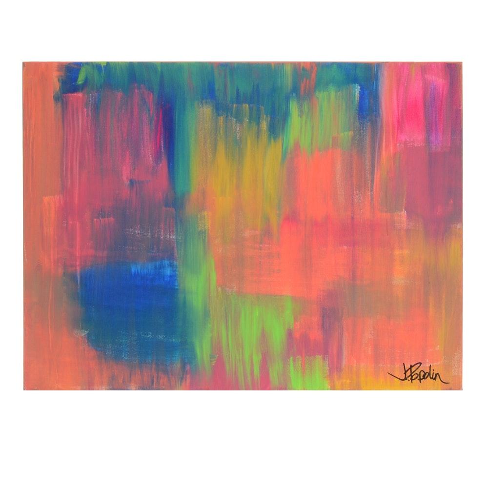 "J. Popolin Original Acrylic Painting on Canvas ""Colorful Fog"""