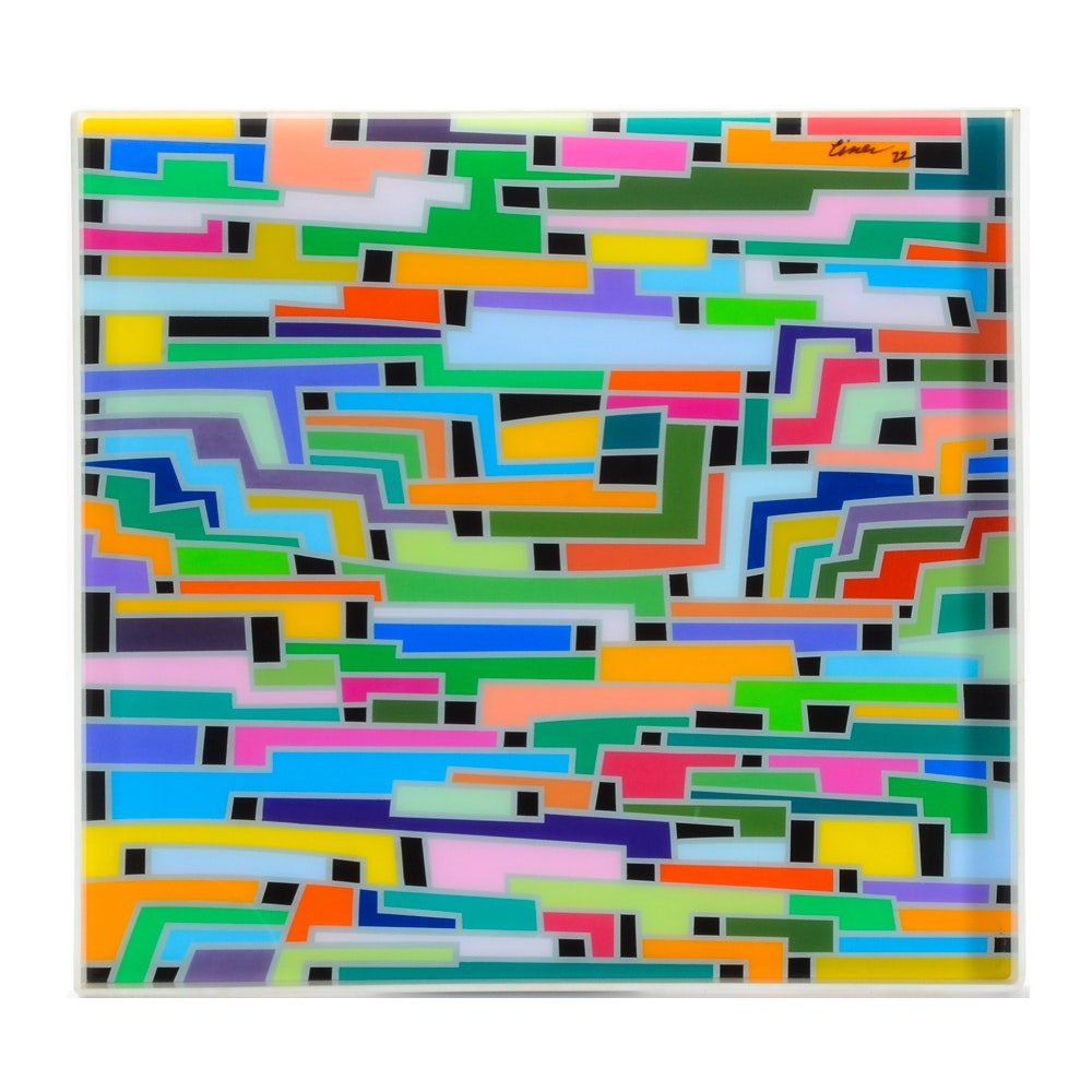 """Evelyn Liner Original Reverse Painting on Plexiglass """"Colors Count"""""""