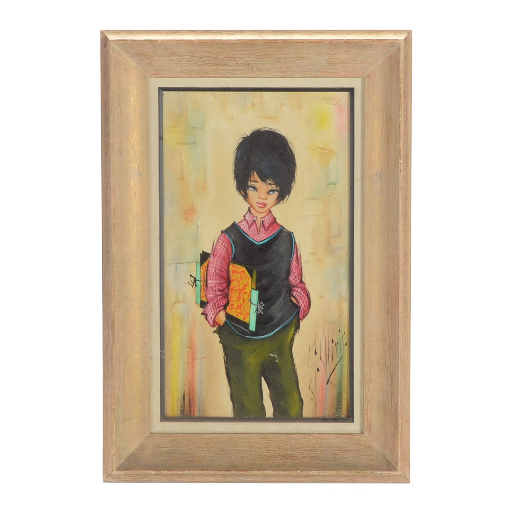 S. Olivier Original Oil Painting of a Boy