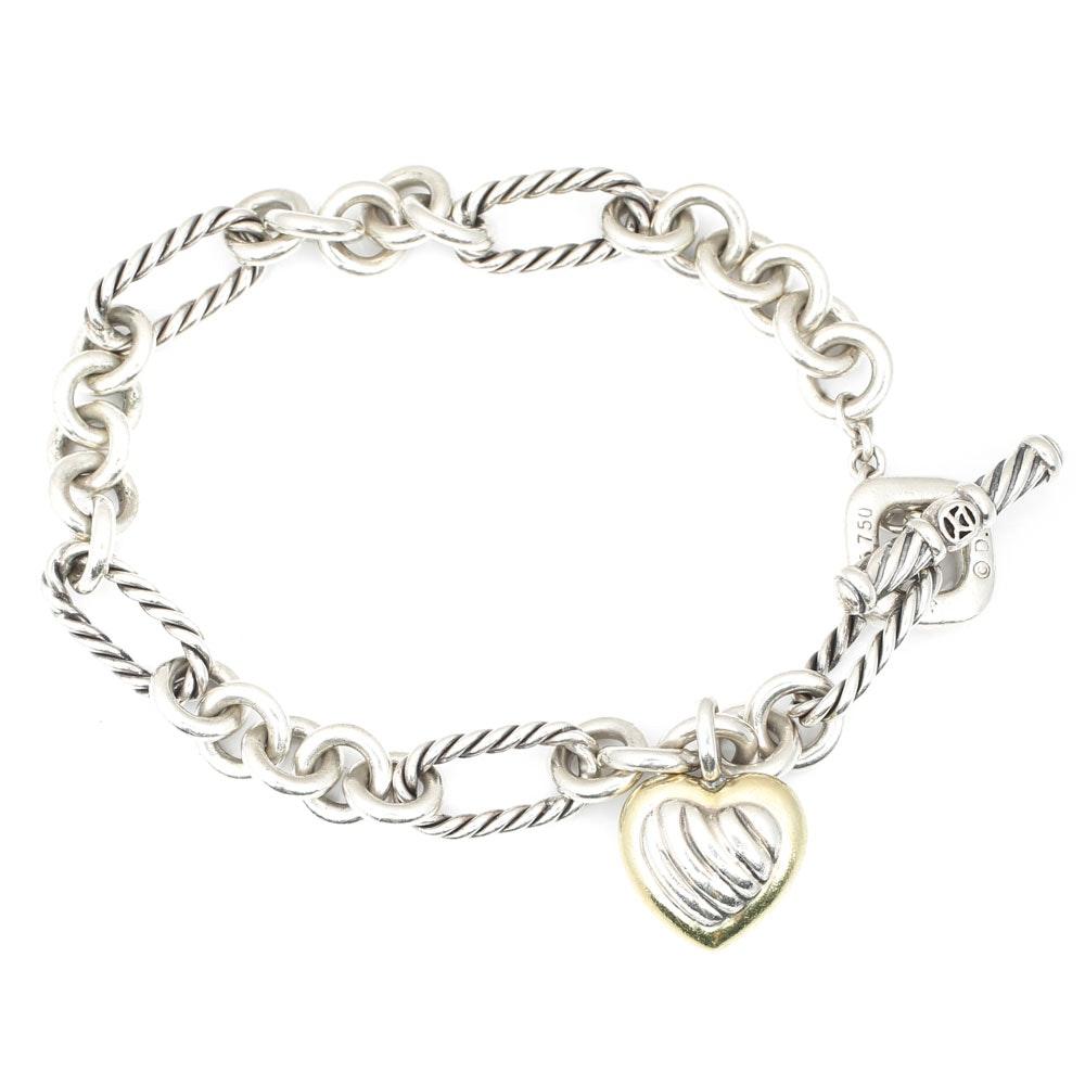 David Yurman Sterling Silver and 18K Yellow Gold Link Bracelet
