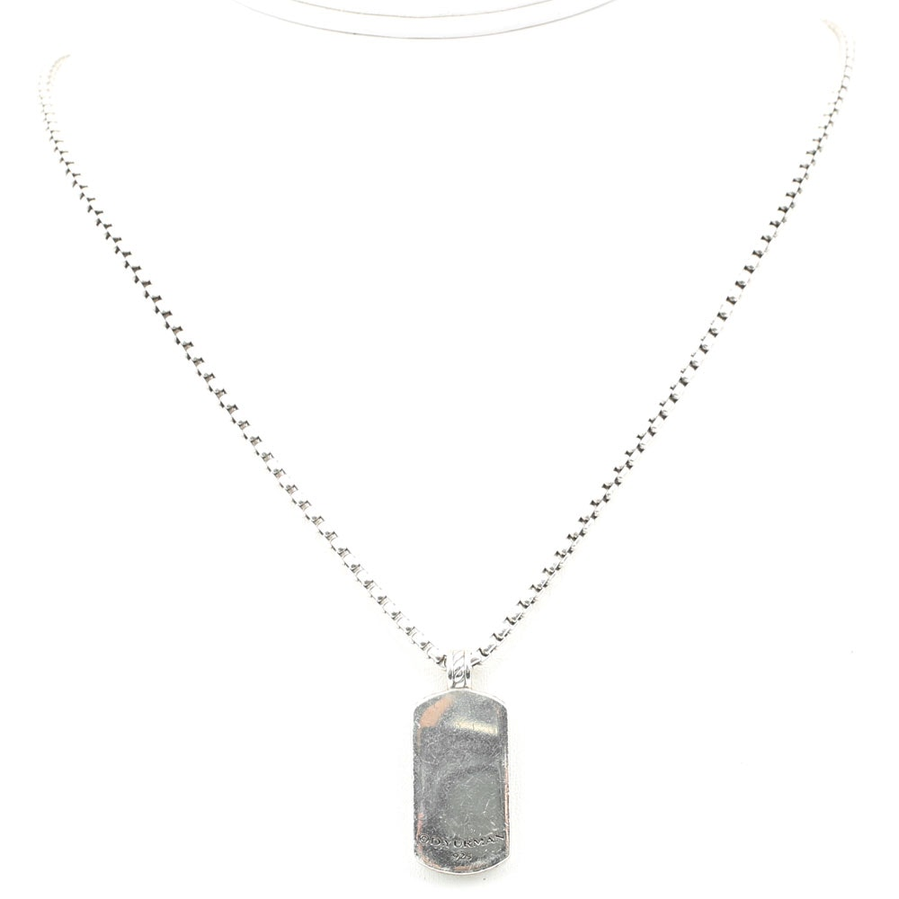David Yurman Sterling Silver Dog Tag Pendant Necklace
