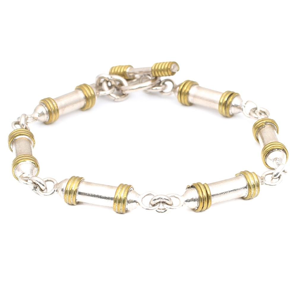 Sterling Silver Barrel Link Bracelet with Gold Accents