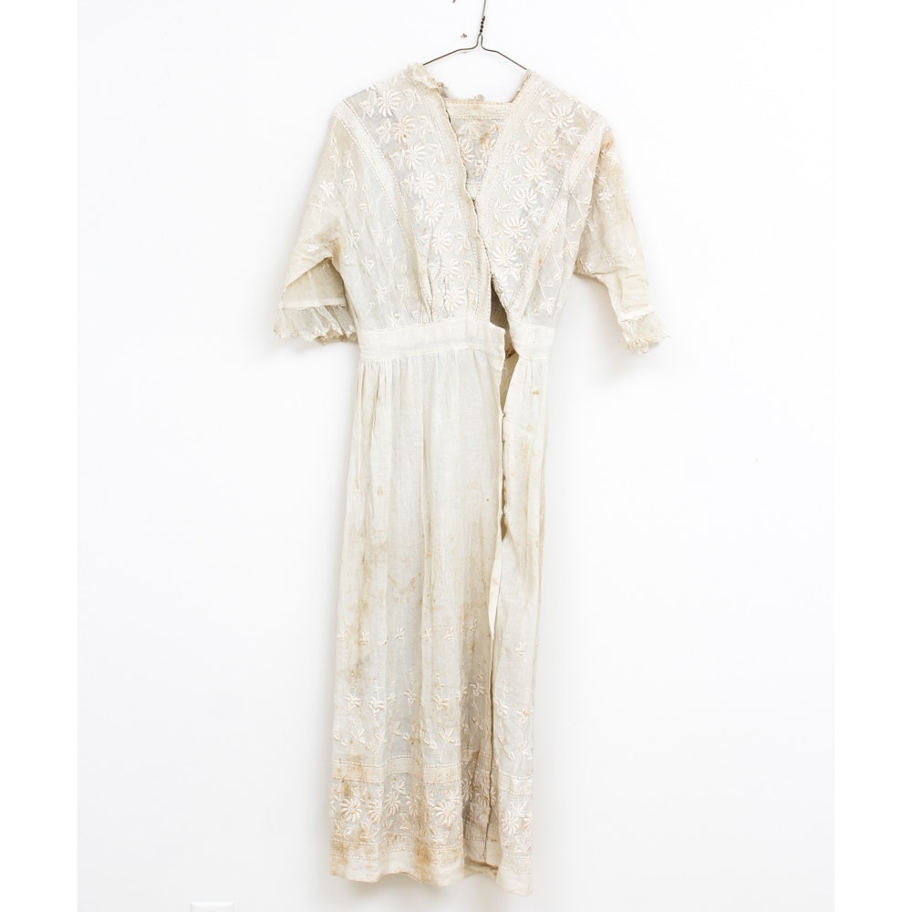 Women's Antique Embroidered Ivory  Dress