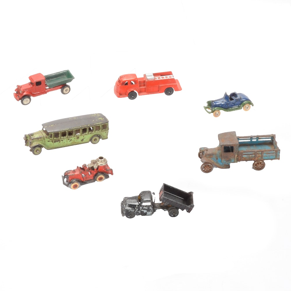 Collection of Antique Cast Iron Vehicles