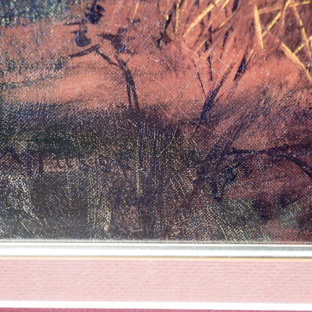 Vintage Framed Offset Lithograph With Elk Ebth