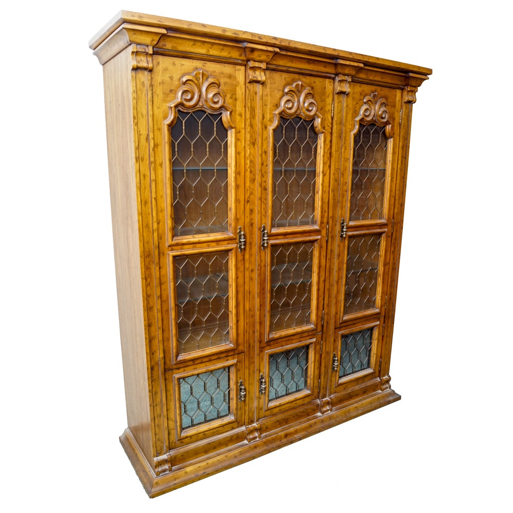 Vintage Italian Style Pecan China Cabinet ...